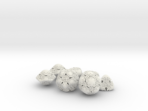 Art Nouveau Dice Set with Decader in White Natural Versatile Plastic