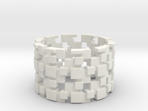 Borg Cube Ring Size 9 in White Natural Versatile Plastic