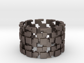 Borg Cube Ring Size 9 in Polished Bronzed Silver Steel