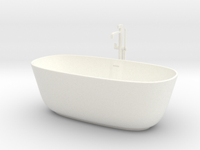 Bathtub with tap 1:24 in White Processed Versatile Plastic