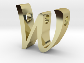 Letter W pendant in 18k Gold Plated Brass