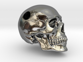 Skull Pendant _ P02 in Polished Silver: Small