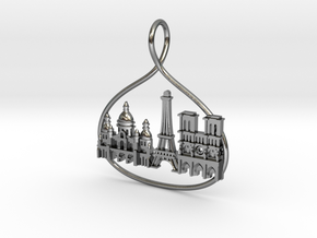 Paris Cityscape Skyline Pendant in Polished Silver
