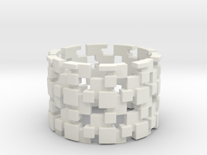 Borg Cube Ring Size 11 in White Natural Versatile Plastic