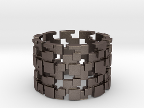 Borg Cube Ring Size 11 in Polished Bronzed Silver Steel