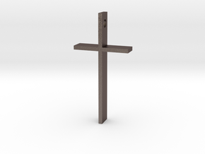 "Simple Cross Slide Pendant (2"" x 1"") in Polished Bronzed Silver Steel"