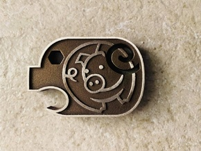 Ham Solo Piggy in Polished Bronze Steel