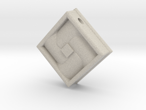 Square Weave Pendant with 3mm Silde Necklace Hole in Natural Sandstone