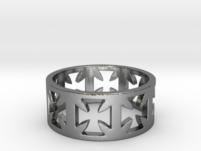 Outlaw Biker Cross Ring Size 12 in Polished Silver