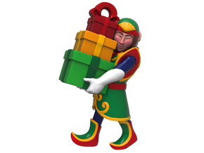 Elf with Presents Christmas Ornament in Natural Full Color Sandstone