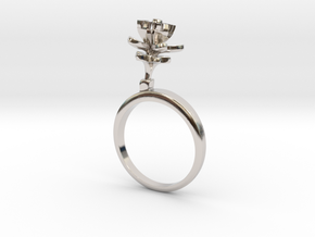Lemon ring with one small flower in Rhodium Plated Brass: 7.25 / 54.625
