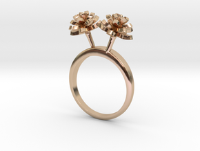 Lotus ring with two small flowers in 14k Rose Gold Plated Brass: 7.25 / 54.625
