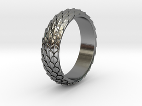 Dragon Scale Ring_B in Polished Silver: 8 / 56.75