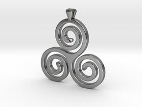 Triskelion - Triskele  Necklace SPG in Polished Silver