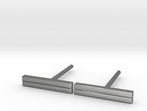 Minimal Bar Studs in Polished Silver