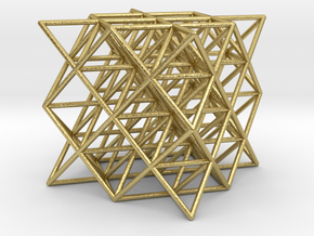 64 tetrahedrons, thin round struts, 3 cm in Natural Brass