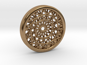 Triple Layered Spirograph Pendant in Natural Brass