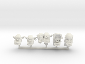Orc Heads 1 in White Natural Versatile Plastic