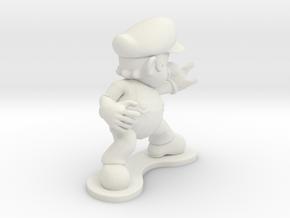 Mario Figurine in White Natural Versatile Plastic