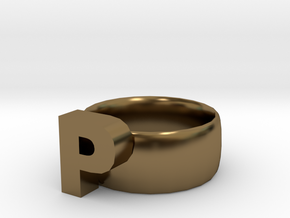 P Ring in Polished Bronze