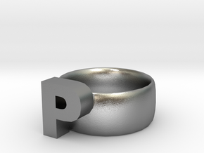P Ring in Natural Silver