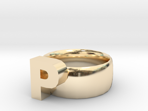 P Ring in 14K Yellow Gold