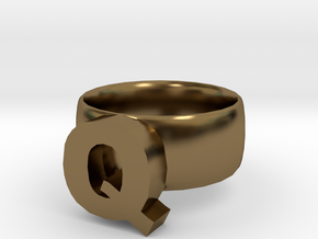 Q Ring in Polished Bronze