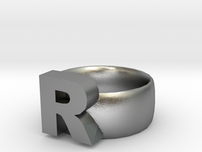 R Ring in Natural Silver