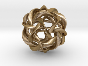Icosahedral symmetry in ten twisted bands in Polished Gold Steel