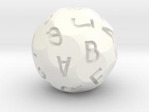 Alphabet d26 in White Processed Versatile Plastic