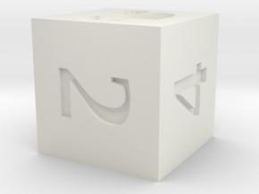 D6 Squirrel Symbol Logo in White Natural Versatile Plastic