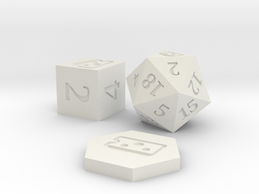 D2 D6 D20 - Baffled Cheese Symbol Logo in White Natural Versatile Plastic