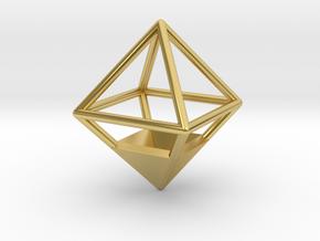 Octahedron Pendant in Polished Brass