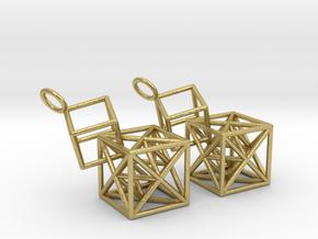 Metatron Cube Earrings - Long in Natural Brass (Interlocking Parts)