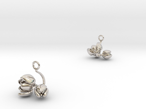 Tulip earring with two small flowers in Rhodium Plated Brass