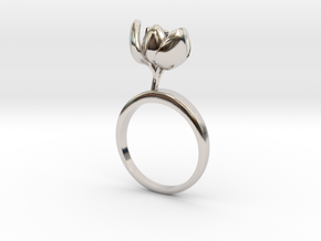 Tulip ring with one small halfopen flower in Rhodium Plated Brass: 7.25 / 54.625