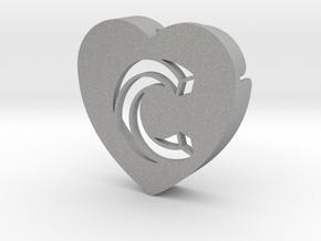Heart shape DuoLetters print C in Aluminum