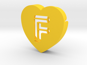 Heart shape DuoLetters print F in Yellow Processed Versatile Plastic
