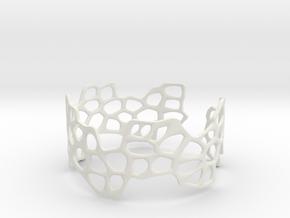 Cells Bracelet (open, 64mm) in White Strong & Flexible