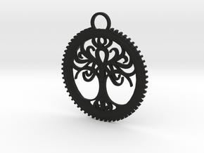 Tree Pendant in Black Natural Versatile Plastic