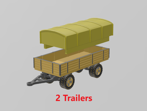 German 5 ton Trailer (x2) 1/220 in Smooth Fine Detail Plastic