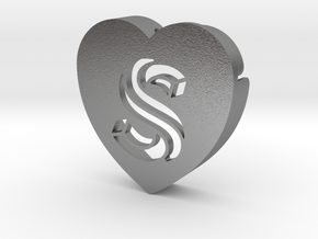Heart shape DuoLetters print S in Natural Silver