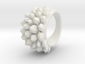 Urban Crystal Ring - Various Sizes in White Natural Versatile Plastic