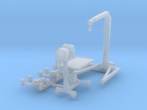 1/64 engine hoist, stand, 4 wheel dolleys in Smooth Fine Detail Plastic