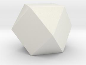 Cuboctahedron - 1 Inch - Rounded V1 in White Natural Versatile Plastic
