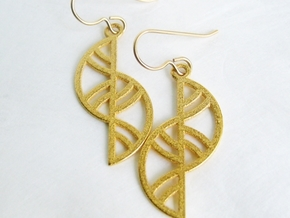 Geometric Earrings - 3D Printed in Metal in Polished Gold Steel