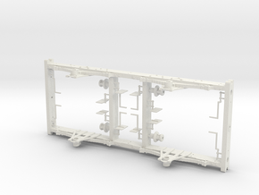 LNWR 3 comp 1st carriage underframe kit in White Natural Versatile Plastic