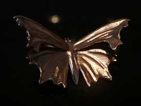 Comma Butterfly pendant - Nymphalidae C-album in Natural Brass