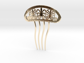 Hairpin with Greek Motifs in 14k Gold Plated Brass