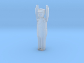 Capsule Worker Arms Up in Smooth Fine Detail Plastic